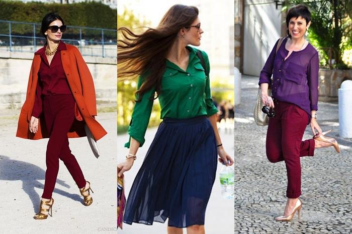looks com cores análogas, laranja e vermelho, verde e azul, roxo e vinho