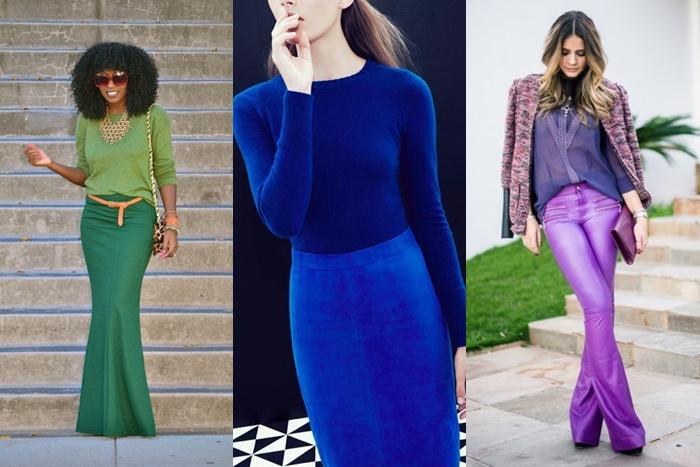 looks com combinações monocromáticas, verde, azul e roxo