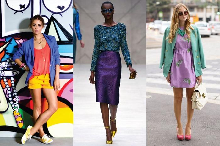 looks inspirações com cores triádicas