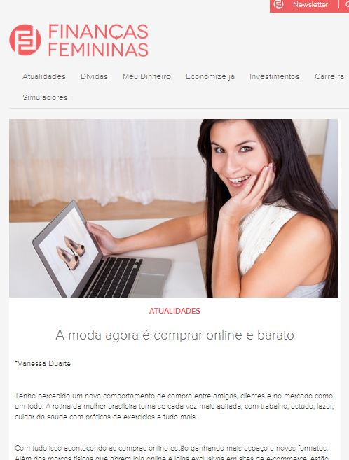 Coluna mensal site Finanças Femininas  28680f638f593