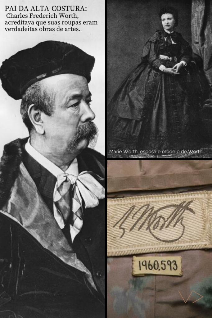 Retrato de Worth, sua esposa Marie e uma etiqueta assinada pela Maison Worth